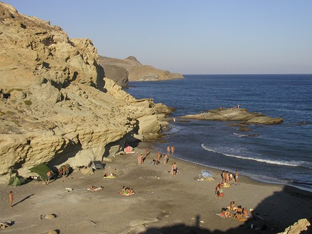 Jogging along the coastline of Cabo the Gata (one of the beaches)